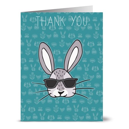 24 Thank You Note Cards - Cool Bunny Thank You - Blank Cards - Gray Envelopes Included
