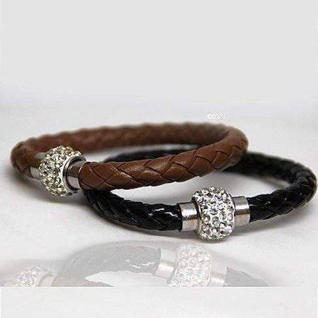 ON SALE - French Braid Shamballa Magnetic Bangle Bracelet Black