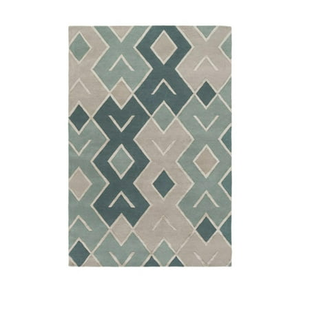 8' x 10' Diamond Coliseum Silver Sand, Stratton Blue and Dark Turquoise Hand Tufted Area Throw Rug - image 1 of 1