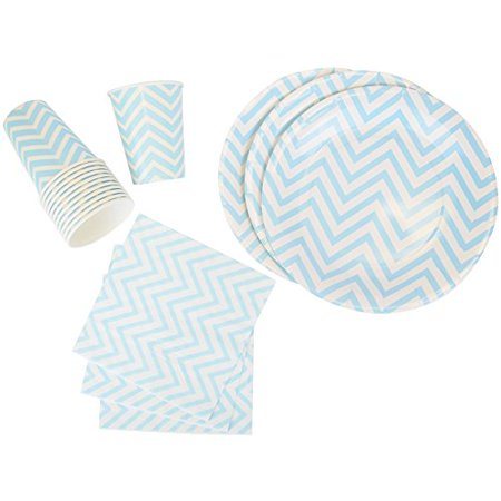 Just Artifacts Disposable Party Tableware 44 Pieces Chevron Pattern Dining Set (Round Plates, Cups, Napkins) - Color: Baby Blue - Decorative Tableware for Parties, Baby Showers, and Life Celebrations! - Boy Baby Shower Plates And Napkins