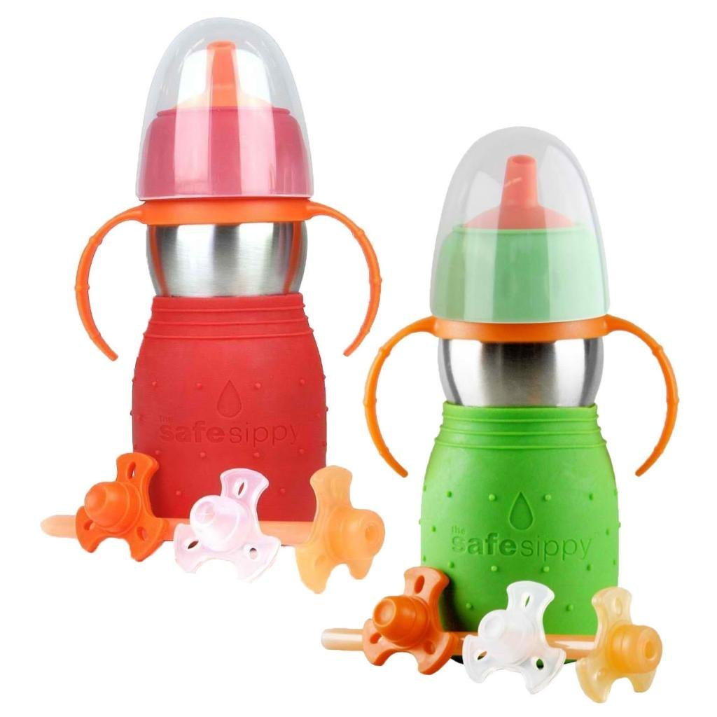 The Safe Sippy 2 2-in-1 Sippy to Straw Bottle, 2 Pack, Red/Green