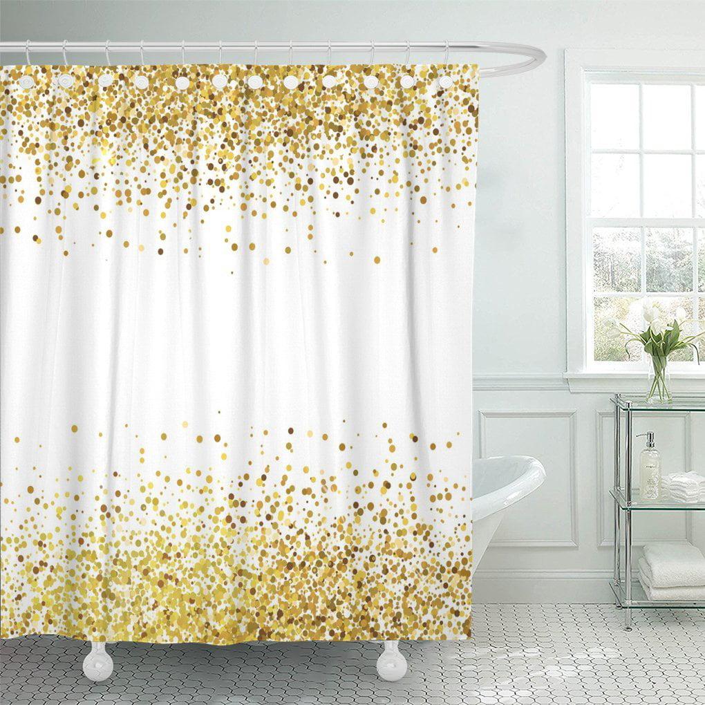 ksadk silver glam shiny golden glitter on white orange gold shower curtain bathroom curtain 60x72 inch walmart com