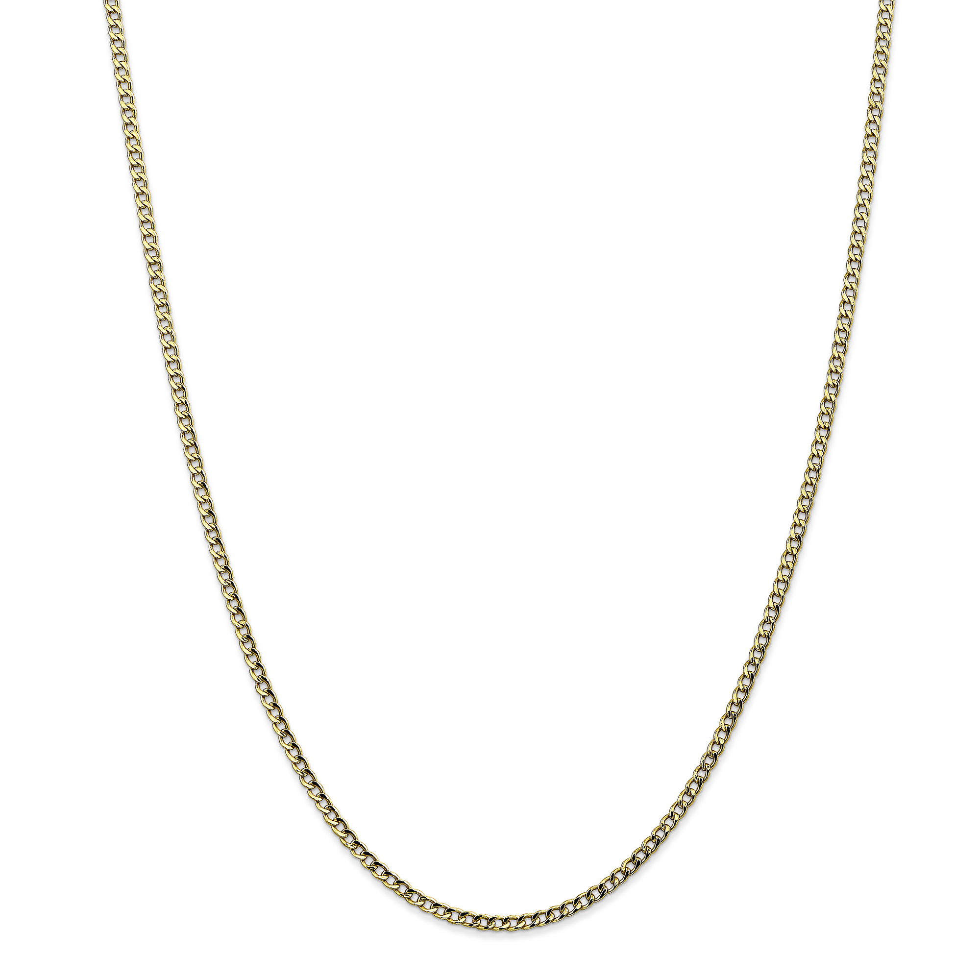 10K Yellow Gold 2.5mm Semi-Solid Curb Link Chain 24 IN - image 5 of 5