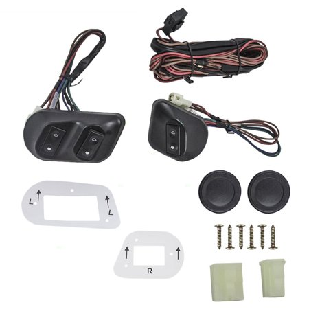 - BROCK Universal Joker Style Electric Power Window Roll Up Switch Kit Angled Design with Bezels, Switch & Wiring Harness for 2-Door Models