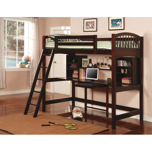 Coaster Twin Workstation Bunk Bed, Cappuccino, Box 1 of 3