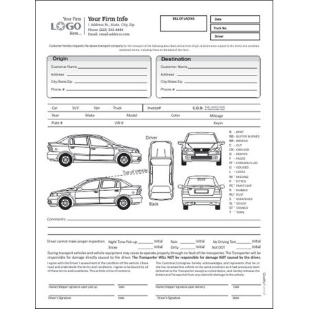 auto transport bill of lading with 1 car style 1 walmart com