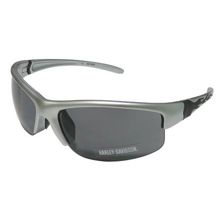 New Harley-Davidson Hds 580 Mens Sport Half-Rim 100% UVA & UVB Silver / Black 100% UV Protection Sleek Shades Sunnies Frame Gray Lenses 68-12-130 Sunglasses/Sun (Polarized Sunglasses Uva Uvb Protection)