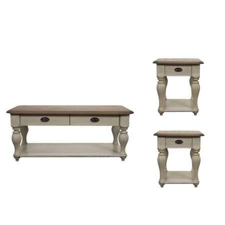 3 Piece Farmhouse Coffee And End Table Set In Dover White