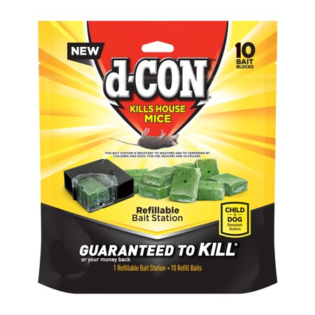 d-CON Refillable Corner Fit Mouse Poison Bait Station, 1 Trap + 10 Bait