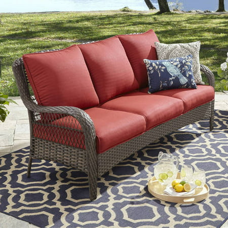 Better Homes and Gardens Colebrook Outdoor Sofa, seats 3 Red