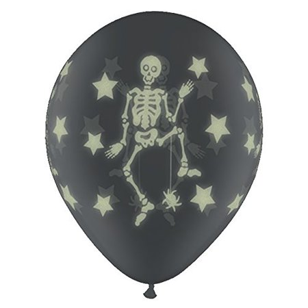 Scary Halloween Balloons (25 Halloween Skeletons Balloons Clear- Glow in the)