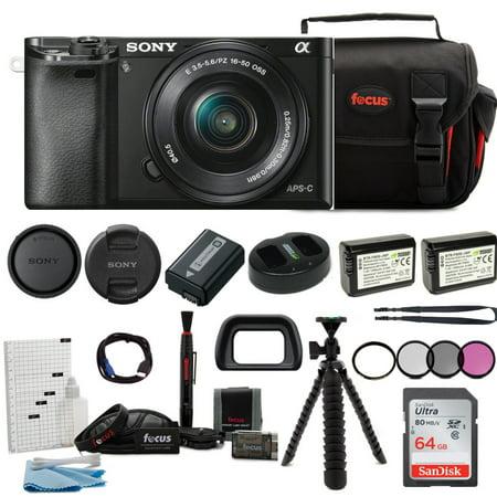 Sony Alpha a6000 Mirrorless Camera w/ 16-50mm Lens & 64GB SD Card Bundle