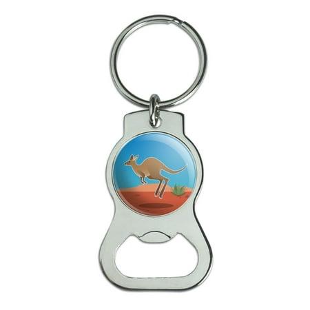 Kangaroo Hopping in the Australian Outback Bottle Cap Opener Keychain Key Ring