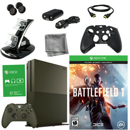 Xbox One S 1TB Battlefield 1 Green Bundle With 8 in 1 Kit