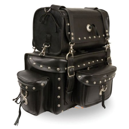 Milwaukee Two Piece Studded Touring Pack Sissy Bar Bag ()