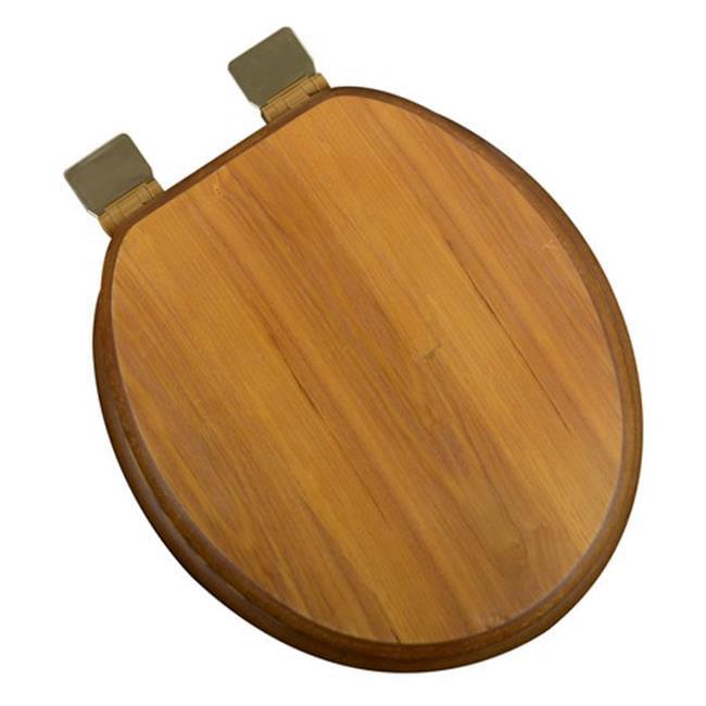 Plumbing Technologies 5F1R1-17BR Decorative Wood Round Front Toilet Seat Polish Brass Hinges, Light Oak
