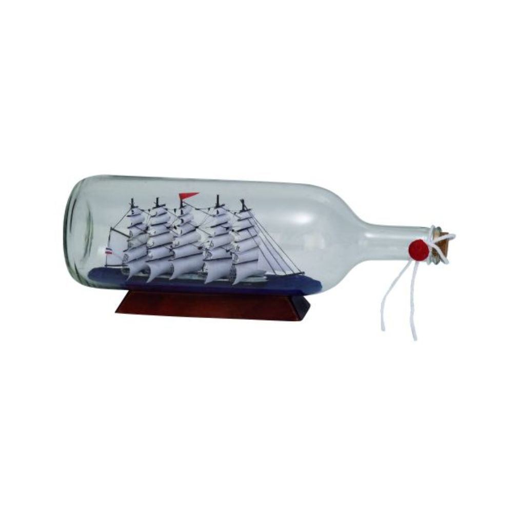 """Decmode Glass Ship In A Bottle 13""""W, 5""""H by Benzara"""