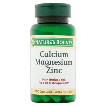(2 pack) Nature's Bounty Calcium-Magnesiuim-Zinc, Coated Caplets, 100 Ct ()