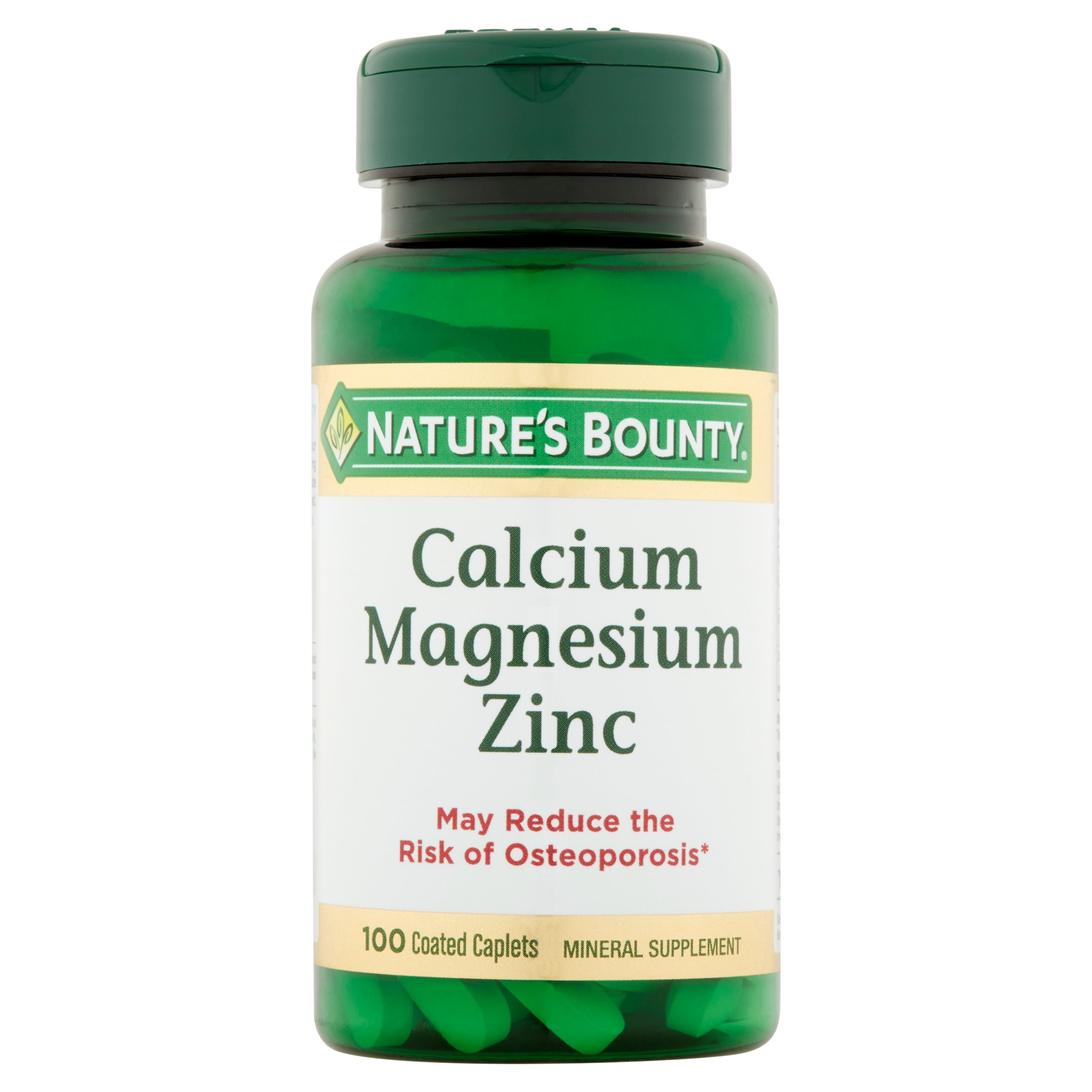 (2 pack) Nature's Bounty Calcium-Magnesiuim-Zinc, Coated Caplets, 100 Ct