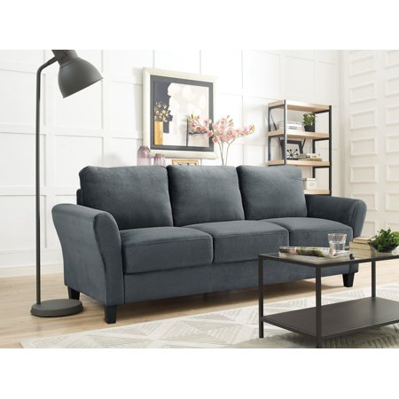 Alexa Rolled-Arm Sofa, Dark (Light Brown Three Seat Sofa)