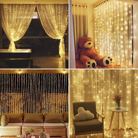 9.8Ft X 9.8Ft 300LED Soft Curtain Lights Novelty Lighting Fairy Starry Christmas String Lamp Icicle Light Indoor Outdoor Decor For Garden Party Wedding Starry Christmas Xmas Deco ()