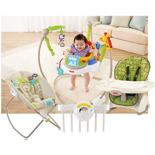 Fisher-Price Rainforest Friends High Chair, Jumperoo, Sleeper, & Projection Soother Value Set
