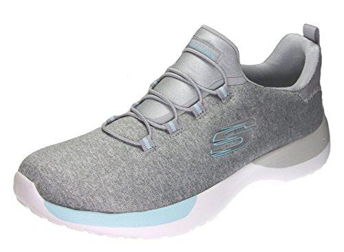 skechers Dynamight Break Through Women's Fashion Sneakers, Light Grey/Aqua, 6 US