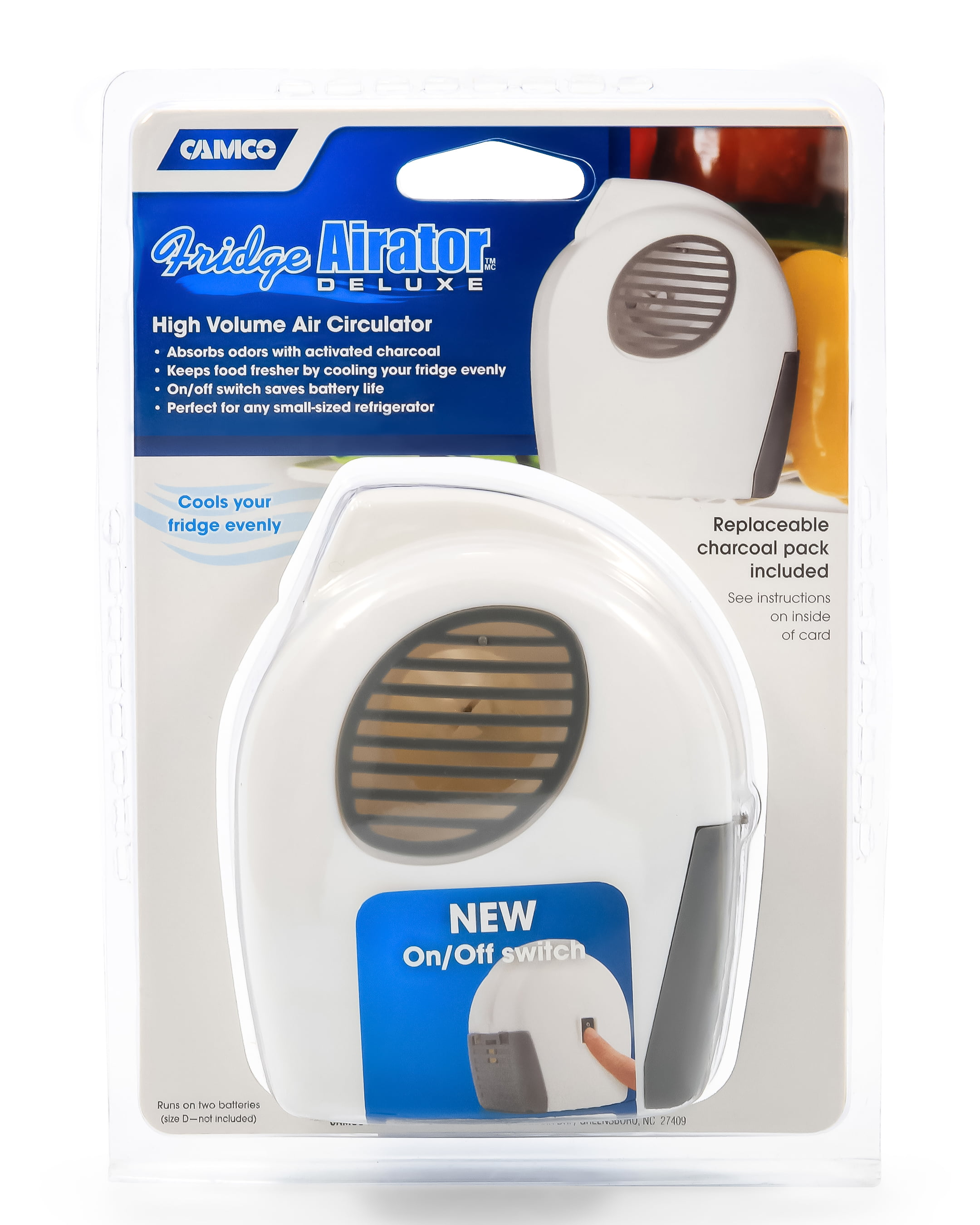 Camco Fridge Airator with On/Off Switch - Absorbs Refrigerator Odors and  Smells, Space Efficient Compact Design, Maintains Consistent RV Temperature