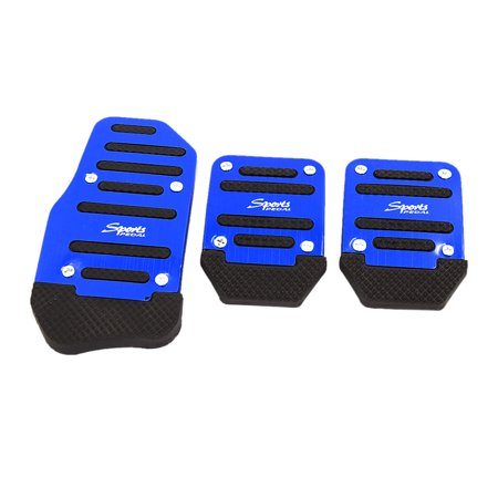 Unique Bargains Unique Bargains 3 Pcs Manual Car Gas Brake Clutch Pedal Pad Cover Set Black Blue