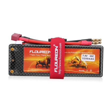 Floureon 2S 7.4V 5200mAh 30C with T Plug LiPo Battery Pack