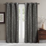 """Virginia Pair (Set Of 2) Blackout Weave Energy-Saving Thermal Curtain Panels Grommet Embossed Fabric Leafy Designs - 74""""W X 84"""" L - Chocolate"""