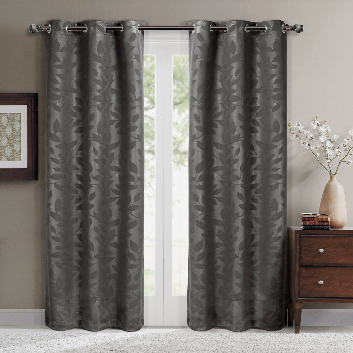"Virginia Pair (Set of 2) Blackout Weave Energy-Saving Thermal Curtain Panels Grommet Embossed fabric Leafy Designs - 74""W X 84"" L - Chocolate"
