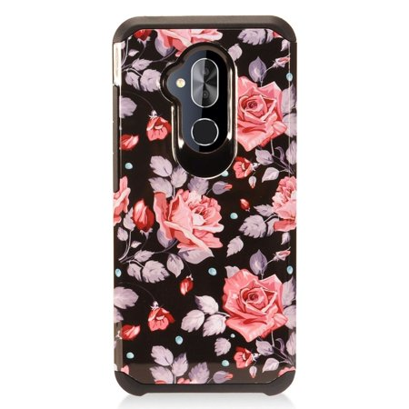 Alcatel 7 Case, by Insten Rose Dual Layer [Shock Absorbing] Hybrid Hard Plastic/Soft TPU Rubber Case Cover For  7, (Rose Pink Hard Rubber)