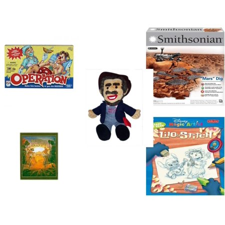 Lilo And Stitch Birthday Supplies (Children's Gift Bundle [5 Piece] -  Operation  - NSI Smithsonian Mars Dig Kit  - BoxCar Willie Country Music Character Doll 16