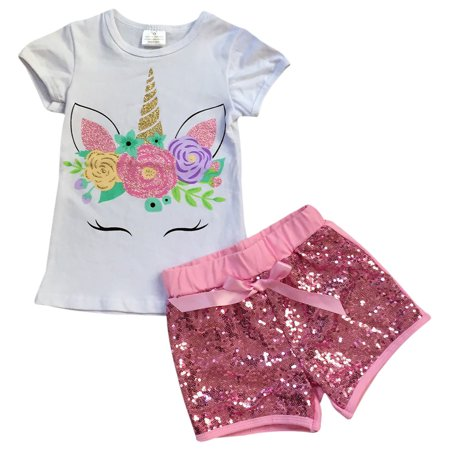 Toddler Girls 2 Pieces Short Set Unicorn Floral Tops Glitter Shorts Outfit White 2T XS (P201453P) (White Skirt Outfit)
