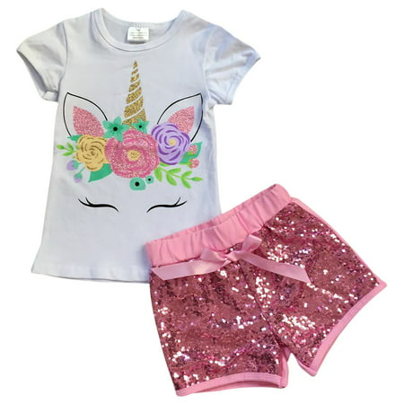 Toddler Girls 2 Pieces Short Set Unicorn Floral Tops Glitter Shorts Outfit White 2T XS (P201453P) - Girls 2 Piece Short