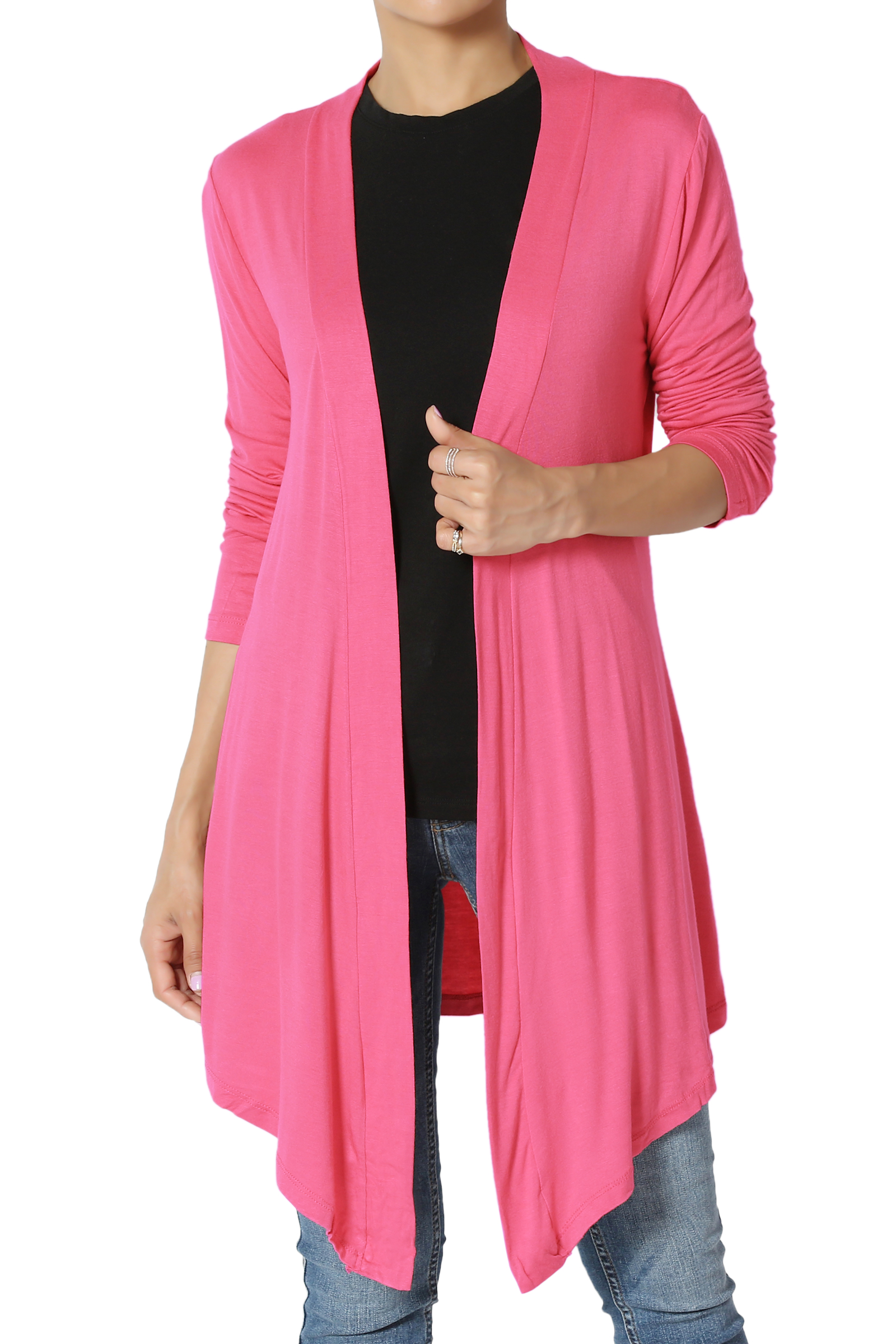 TheMogan Women's S~3X Plain Solid Lightweight Jersey Layering Long Open Cardigan