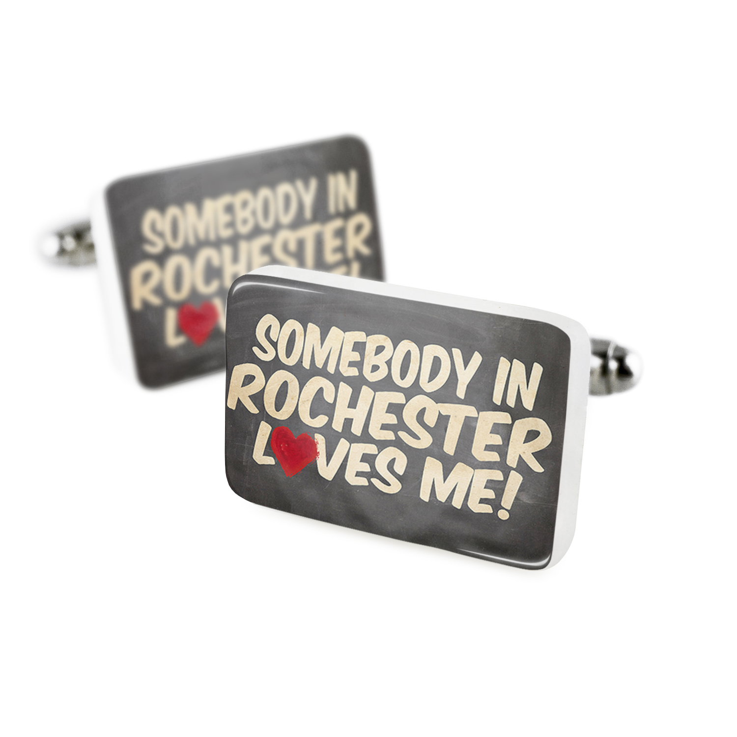 Cufflinks Somebody in Rochester Loves me, New YorkPorcelain Ceramic NEONBLOND