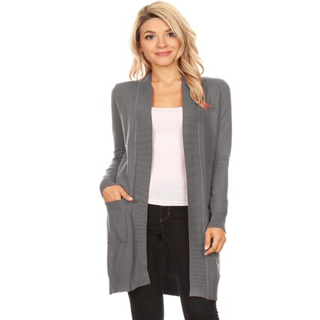 - NEW MOA Women's Solid Casual Long Sleeve Ribbed Open Front Pockets Knit Cardigan