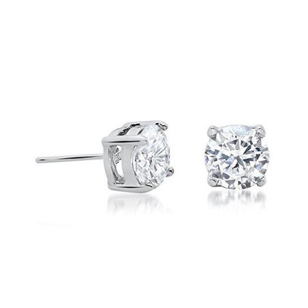 Body Fashion Surgical Steel Round Solitaire Sparkling Clear Crystal Diamond Unisex Mens Stud Earrings 5 Sizes Available (4 Millimeters)
