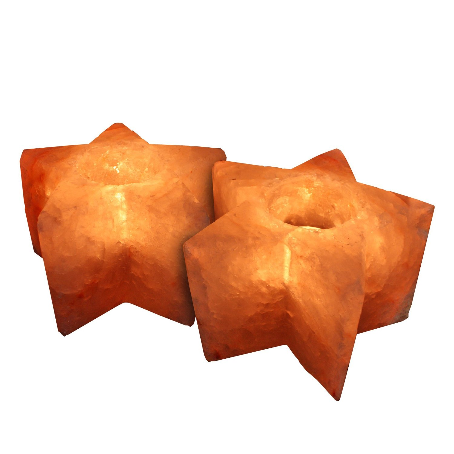 Crystal Allies Gallery: CA SCH-STAR-2pc Pack of 2 Natural Himalayan Star Shaped Salt Tealight Candle Holder Air Purifier & Ionizer w/ Authentic Crystal Allies Info Card