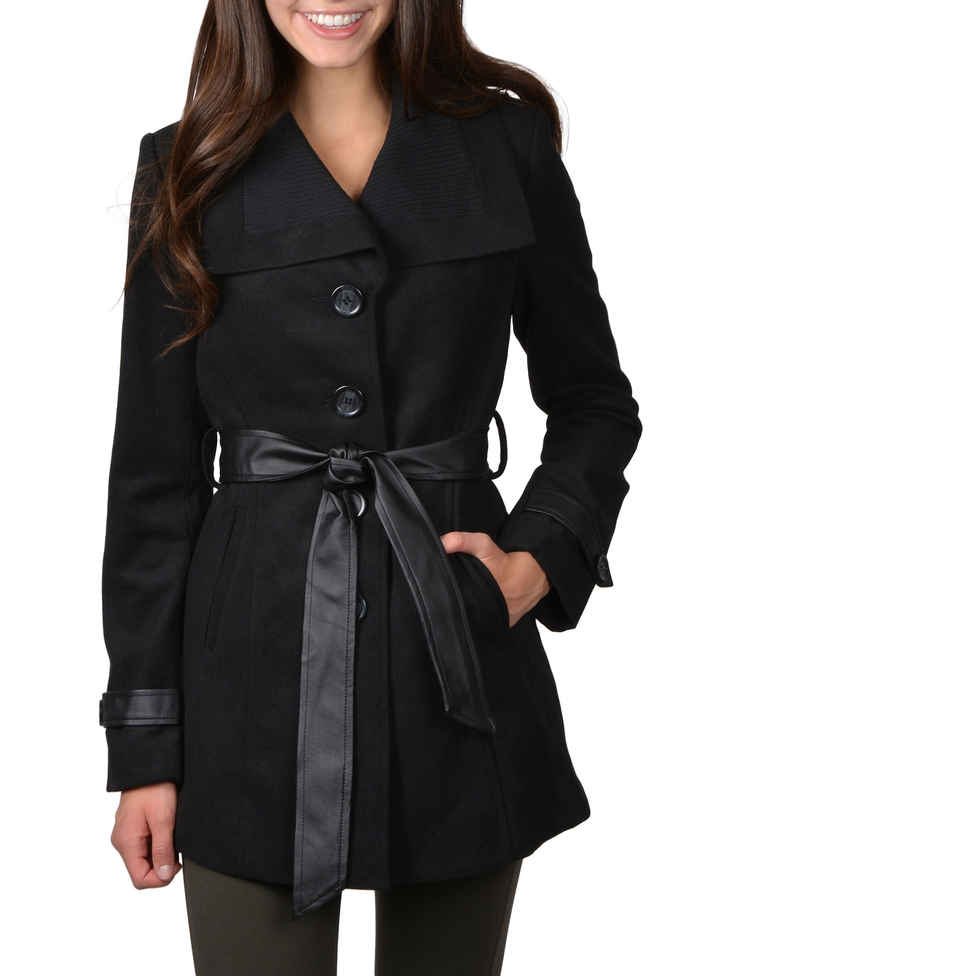 Brinley Co Juniors Belted Button-up Trench Coat