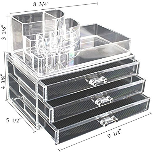Clear Acrylic Cosmetics Makeup and Jewelry Organizer 3 Drawers with 8 Compartments Top Section (idea for Christmas , birthday gift )