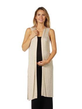 Women's Maternity Sleeveless Long Knee Length Vest Cardigan with Side Slits