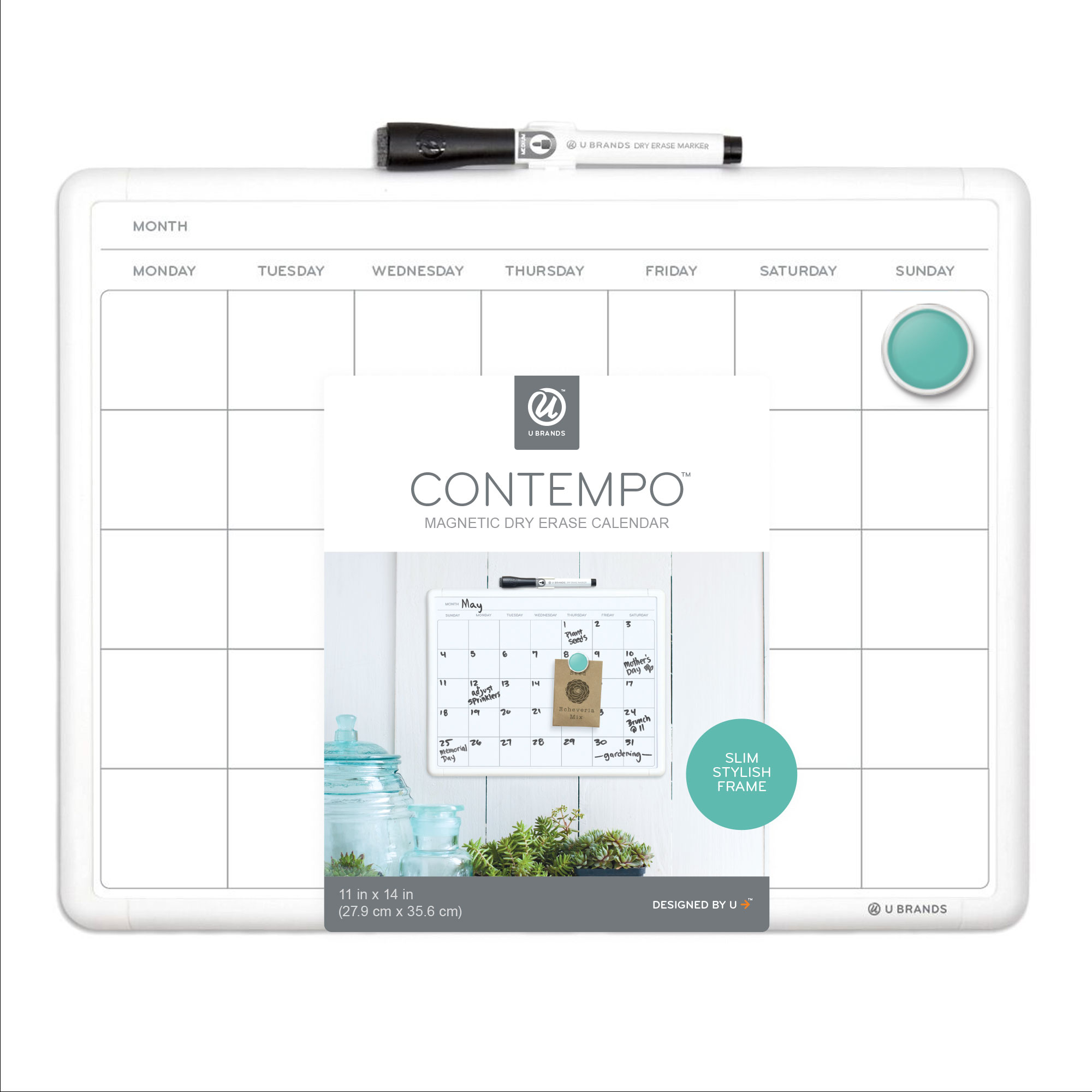 U Brands Contempo Magnetic Monthly Calendar Dry Erase Board, 11 x 14 Inches, White Plastic Frame