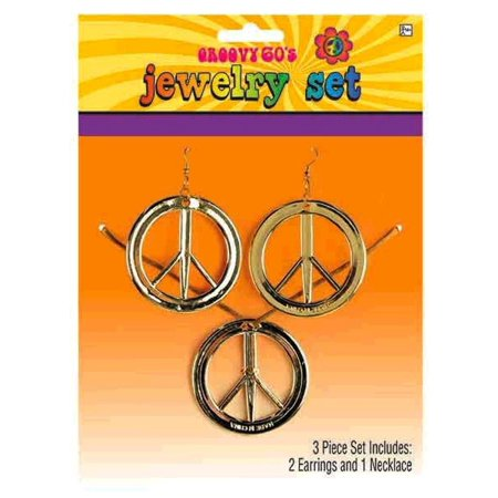 Peace Sign Medallion Necklace and Earrings Set Groovy 60s - 60s Necklace