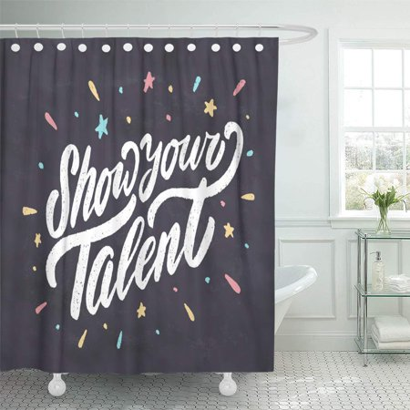 YUSDECOR Phrase Announcement Show Your Talent Chalkboard Sign Night Text Bathroom Decor Bath Shower Curtain 66x72 inch - image 1 de 1