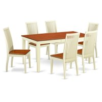East West Furniture Nicoli 7 Piece Dining Table Set - Buttermilk / Cherry
