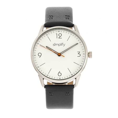 6300 Leather - Simplify The 6300 Leather-Band Watch - Black/White