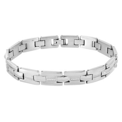 White Gold Mens Bracelet Solid Stainless Steel Simulated Diamonds Micro Pave